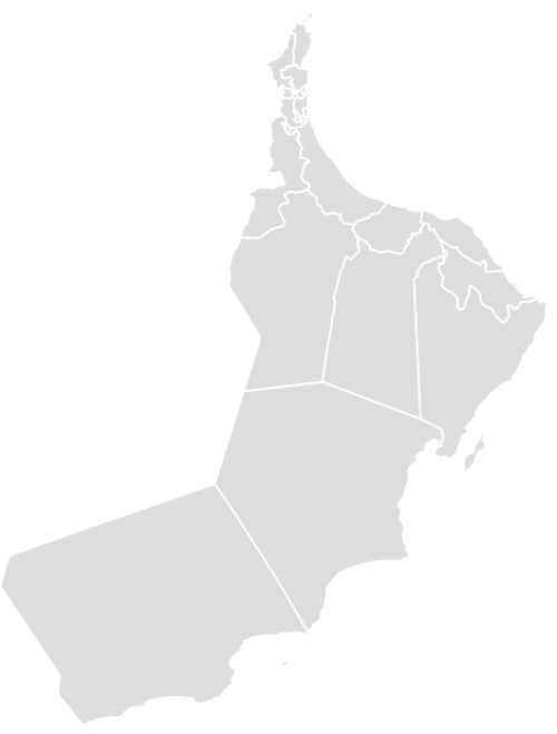 Color Blank Map of OMAN with Statistics