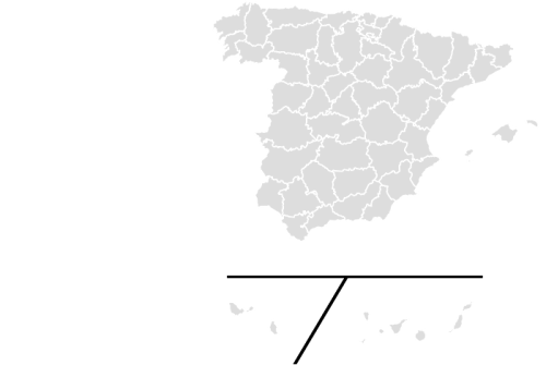 Color Blank Map of SPAIN with Statistics