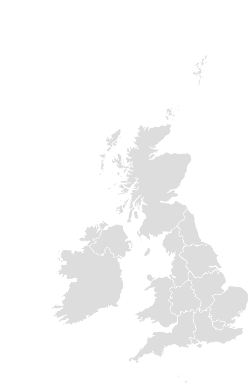 Color Blank Map of UNITEDKINGDOM with Statistics