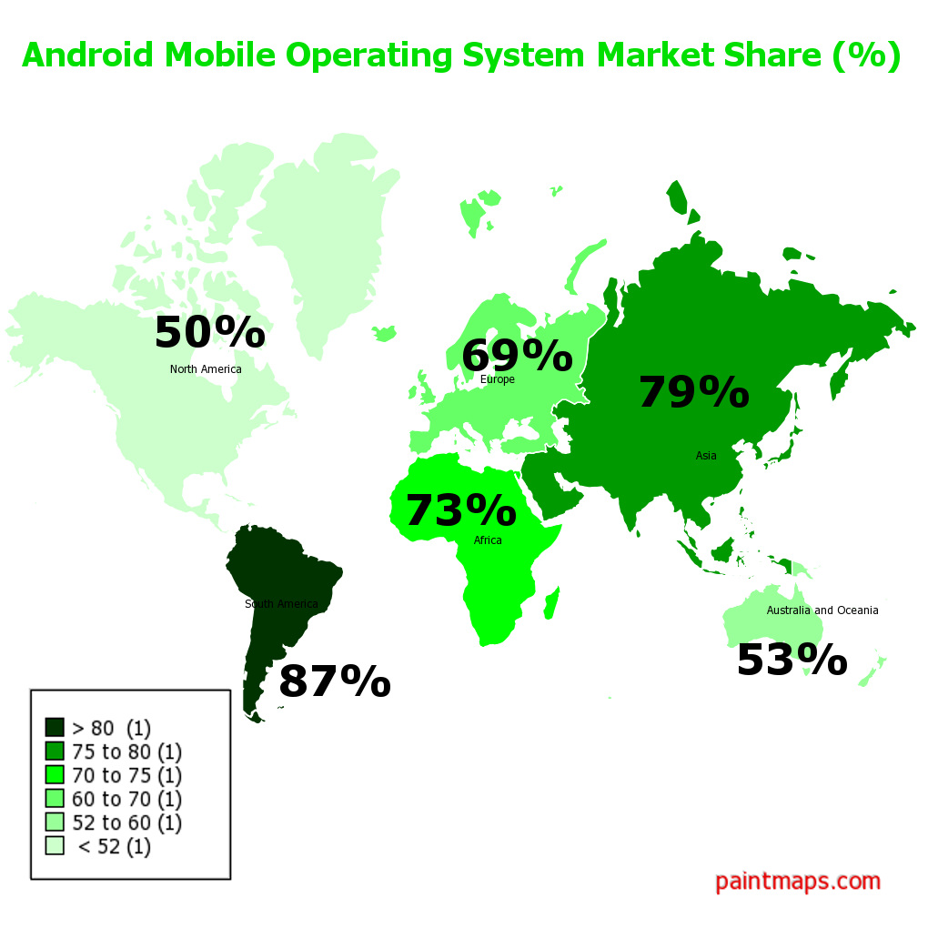 Android Operating System on Mobile Phones - Market Share (%) , generated by paintmaps.com