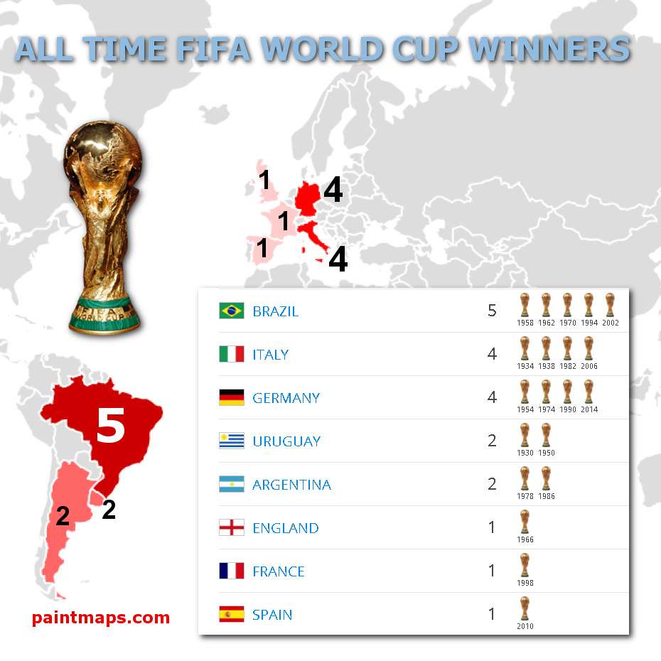 ALL TIME FIFA World Cup Winners , generated by paintmaps.com